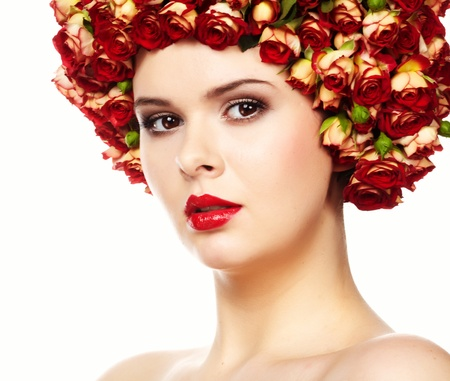 Beautiful girl with hairstyle of rose flowers  photo