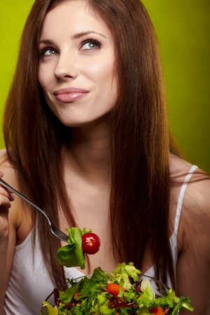 beautiful salad: happy healthy woman with salad Stock Photo