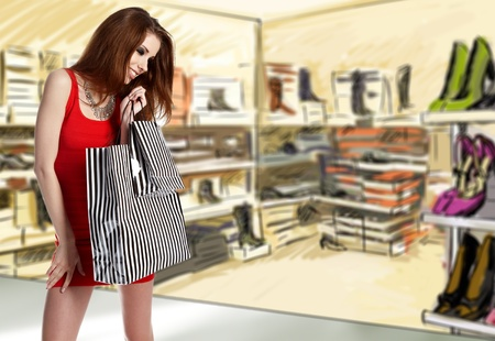 commercial activity: Beautiful shopping woman
