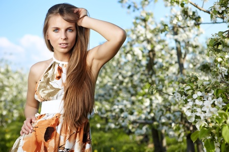 portrait of young lovely woman in orchard photo