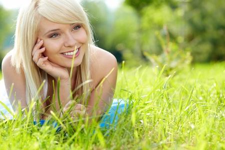 girl on green field