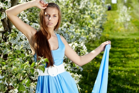 beautiful woman wearing blue dress  over spring orchard photo