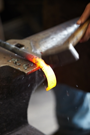 blacksmith shop: Incandescent element in the smithy on the anvil