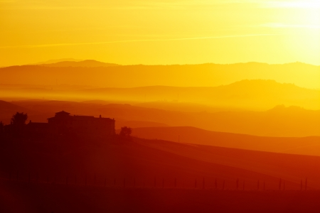 Landscape in Tuscany at sunset in summer  photo