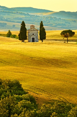 Vitaleta Kapel, Toscane Stockfoto