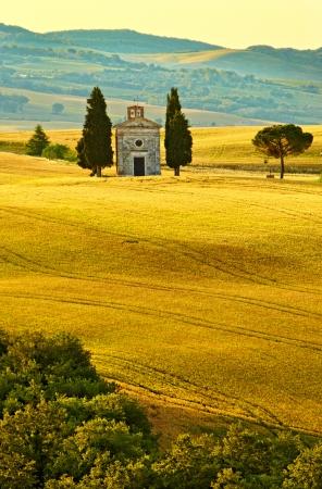 Vitaleta Kapelle, Toskana Standard-Bild