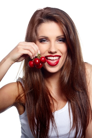 open lips: Happy health woman with cherry isolated on white background  Stock Photo