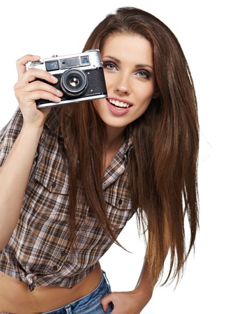 girl photographer is waiting for the shot  photo