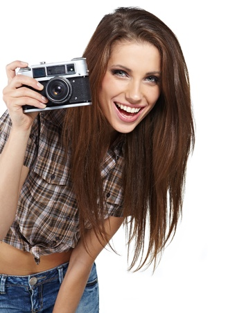 girl photographer is waiting for the shot Stock Photo - 14288160