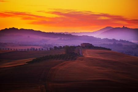 Landscape in Tuscany at sunset in summer Stock Photo - 14399924