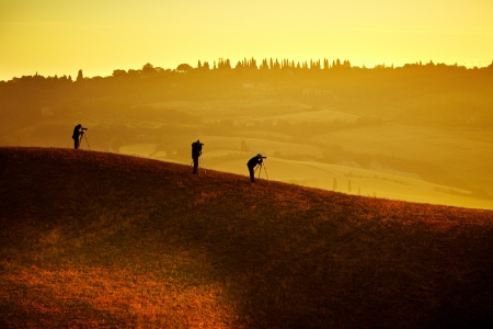 Photographers and Landscape in Tuscany  Stock Photo - 14346319