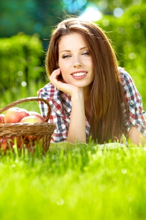 fruits  in the basket with his wife  vitamins from your own garden Stok Fotoğraf - 14377882