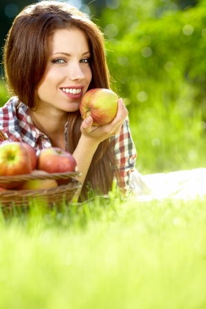 naturally: fruits  in the basket with his wife  vitamins from your own garden