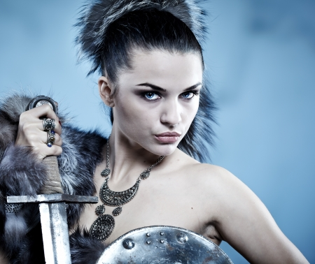 barbarian: Warrior woman. Fantasy fashion idea.  Stock Photo