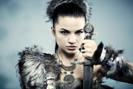 용감: 여성 전사. 판타지 패션 아이디어. 스톡 사진
