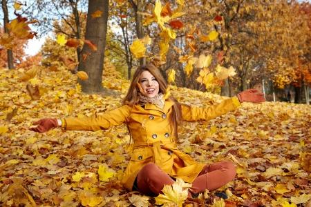 nymphs: young brunette woman portrait in autumn color  Stock Photo