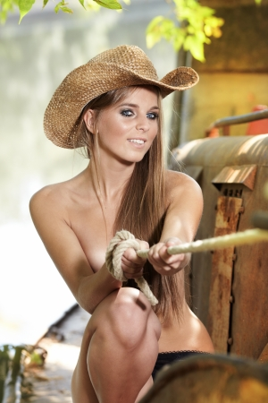 sheer lingerie: Sexy Cowgirl  Stock Photo