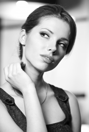 BW portrait of attractive brunette sexy girl Stock Photo - 14779569