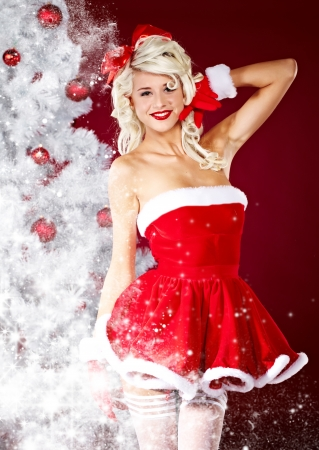 cloath: beautiful sexy girl wearing santa claus clothes