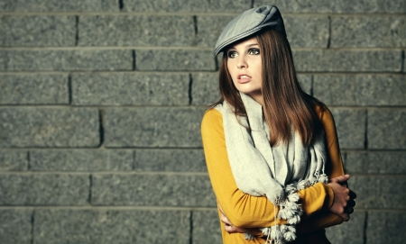 outdoor glamour: young brunette woman portrait in autumn color  Stock Photo