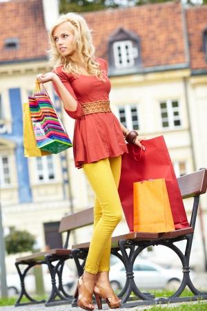 retail therapy: Beautiful shopping woman