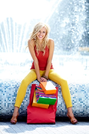 Summer shopping blonde  girl  photo