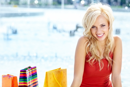 Summer shopping blonde  girl  Stock Photo - 14873686