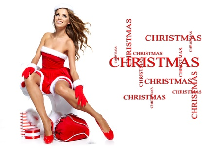 beautiful sexy girl wearing santa claus clothes Stock Photo - 14992410