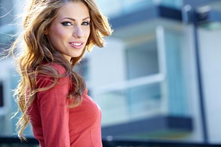 portrait girl: young brunette woman portrait in autumn color  Stock Photo