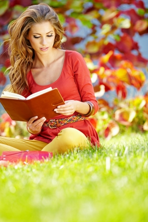 book jacket: Portrait of beautiful young brunette girl reading a book in the park at fall