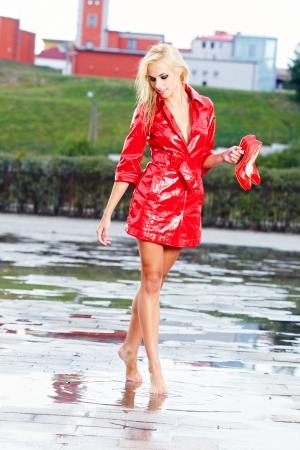 splutter: young beautiful woman in rain  Stock Photo