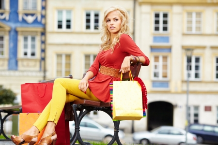 Happy young woman shopping Stock Photo - 15227233