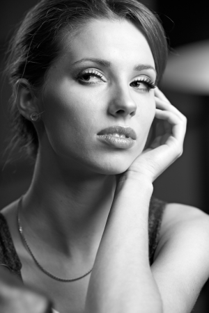 BW portrait of attractive sexy girl brune photo