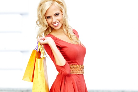 Happy young woman shopping Stock Photo - 15153351