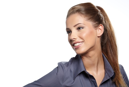 spokesperson: Businesswoman isolated on white background.