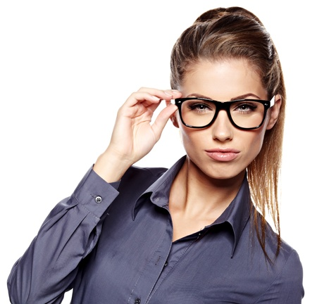 wearing glasses: business woman in glasses