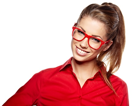 gorgeous businesswoman: business woman in glasses