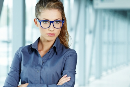 woman in business: Portrait of a cute young business woman smiling, in an office environment