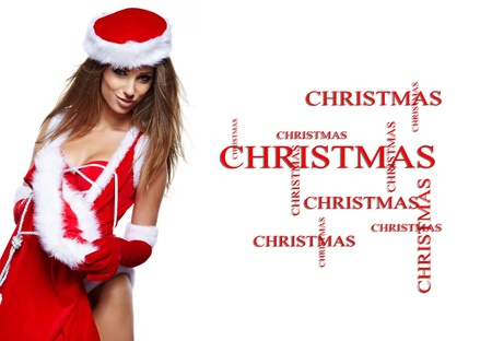ttractive: Beautiful young woman in Santa Claus clothes