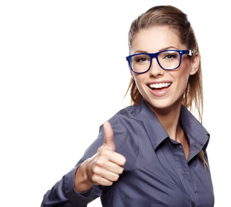 ok: Happy smiling business woman with thumbs up gesture
