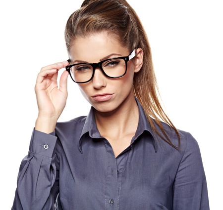 fashion glasses: Cute young business woman with glasses  Stock Photo