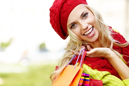 Shopping woman in autumn colors Stock Photo