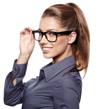 woman  glasses: Cute young business woman with glasses  Stock Photo