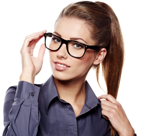 charming: business woman in glasses