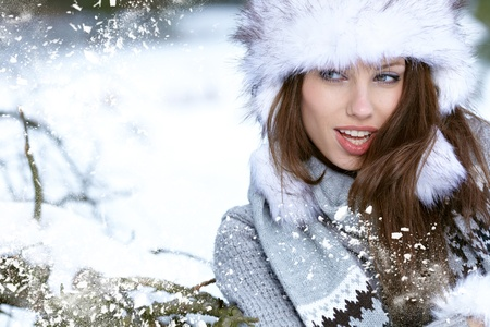 winter scenery: Beauty woman in the winter scenery  Stock Photo