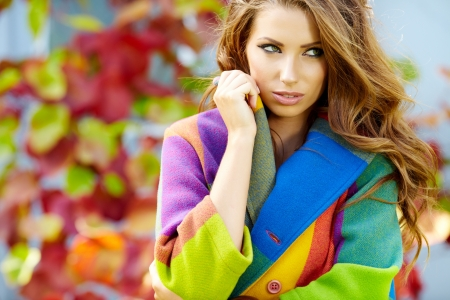 russian girls: Woman in autumn  city