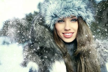 winter woman: Beauty woman in the winter scenery  Stock Photo