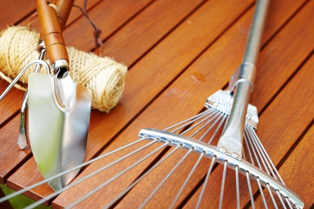 Autumn garden tools background  photo