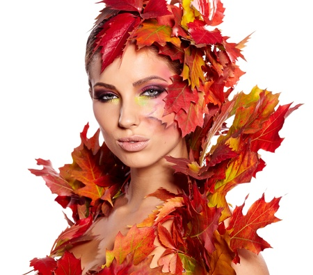 autumnal: Autumn Woman. Beautiful creative makeup