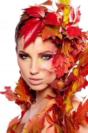 Autumn Woman. Beautiful creative makeup Stock Photo - 15473696